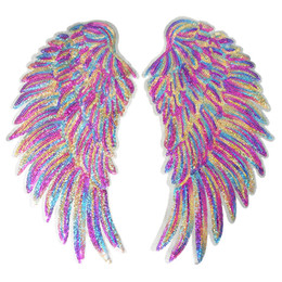 Sequin decoration clothing online shopping - 2PCS Rainbow Feather Wings Sequin Sew Iron On Patches Embroidered Dreamy Badges For Clothes DIY Appliques Craft Decoration