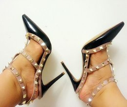 Gold dress shoes straps online shopping - Women Sandals Ladies Brand V Fashion High Heels Rivets Patent Matte Leather Sexy Pumps Pointed Toe Sandals size EU35