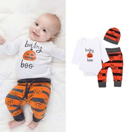 $enCountryForm.capitalKeyWord NZ - Halloween and Thanksgiving autumn Baby pumpkins Print set Romper Set Cotton kids long sleeve pumpkin set four-piece suit outfit Clothes M047