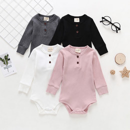 rompers toddler bodysuits Canada - Autumn New INS Toddler Baby Boys Girls Rompers Cotton Long Sleeve Front Buttons Pockets Jumpsuits Newborn Blank Bodysuits for 0-2T