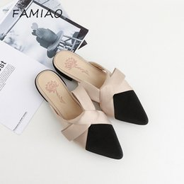 flat velvet slippers red 2019 - FAMIAO Parkside Wind Women Slippers Velvet Butterfly-knot Women Sandals Pointed Toe Bowtie Flats Mules Summer Ladies Sho