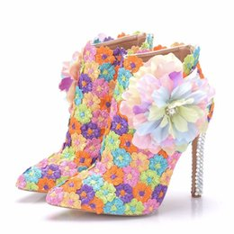 Wholesale Autumn multicolour lace Wedding Shoes Sexy Women Boots Flower Thin High Heel Ankle Boots Pointed Toe Boots
