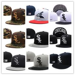 New Hot No Campo Branco Sox chapéu cabido Qualidade Superior plana Brim embroiered Carta SOX Logotipo Da Equipe fãs de Beisebol Chapéus cheios fechados venda por atacado