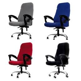 lifting chairs UK - M L Sizes Office Chair Cover Spandex Elastic Stretch Black Lift Computer Arm Chair Seat Cover Cushion 1PC T200601