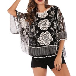 $enCountryForm.capitalKeyWord Australia - KLV New Arrivals On Sale Shirts Women's Gothic style Rose Embroidered Cutout Cropped Sleeve Lace Shirt Loose Funny Tops Tees %40