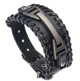 DHL Männer Leder Armband vintage Punk manschette wickeln Geflochtenes Seil breites Armband Armreif Armband für männer