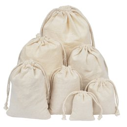 11cm x 10.5cm 10 x natural unbleached cotton drawstring gift bags