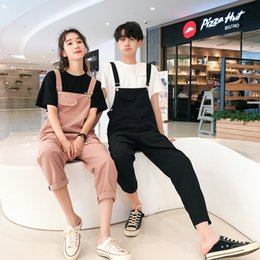 korean jumpsuit men Australia - Super Handsome Couple Overalls High Quality Korean Overalls Women and Men Loose Jumpsuits Youthful Wild Jumpsuits