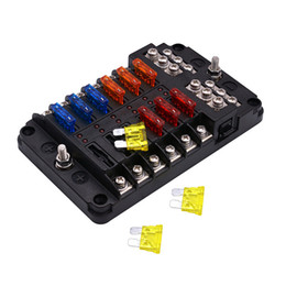 Tenedor de la caja del fusible de la cuchilla de 12 maneras 12V 24V con el equipo de la luz de advertencia del LED para el infante de marina Trike del barco del coche en venta