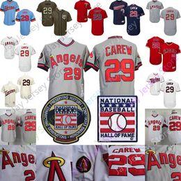 Discount los angeles baseball - Rod Carew Jersey Los Angeles Cooperstown Angels Minnesota MN Twins Baseball Hall Of Fame HOF Jereys Home Away Men Women