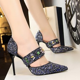d82302dcac4455 Women Crystal Dress Shoes Lady Sexy Stiletto High Heels Party Wedding  Evening Pumps Rainbow Rhinestone Shoes Pointed Toe Slip On Pumps