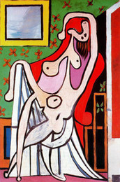 Large Oil Prints Canvas Australia - Pablo Picasso Abstract Art Large Nude In Red Armchair,Oil Painting Reproduction High Quality Giclee Print on Canvas Modern Home Art Decor