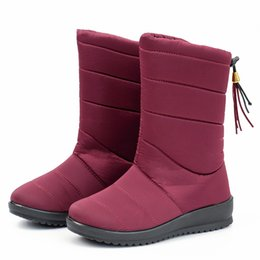 lady snow boots mid calf Australia - Women Boots 2019 Women Winter Boots Waterproof Warm Mid Calf Snow Woman Warm Fur Winter Shoes Botas Mujer Ladies Shoes