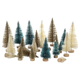 mini wood christmas trees Australia - 24pcs Set Mini Christmas Tree Artificial Sisal Pine Tree with Wood Base DIY Crafts Home Table Top Decoration Christmas Ornaments