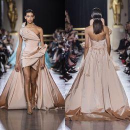tulle evening dress elie saab 2019 - Elie Saab 2019 Prom Dresses Rose Gold Strapless High Low Satin Plus Size Evening Gowns Abendkleider Formal Dress robes d