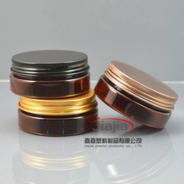 Wholesale Beauty Jars Australia - 50 grams brown PET Jar,Cosmetic Jar 50g brown jar with gold bronze black aluminum Lid Make up Packaging Beauty Salon Equipment