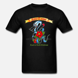 black rose tattoos Canada - New Popular Rose Tattoo Rock n Roll Outlaws Rock Band Black T-Shirt Size S-3XL T Shirt Men Casual Cotton Short Sleeve
