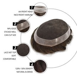 Human Hair Toupee For Men Australia - TKWIG 120% Density Human Hair Toupee for Men with 6*8 Inch Full French Lace Base and Black Vrigin Hair, Mens Toupee Wigs Haircover