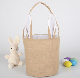 """Interactive Toy Rabbit Australia - round Easter Bunny Bags Dual Layer Bunny Ears Design Easter Egg Bags Carrying Eggs Gifts for Festival Party Size 9.5"""""""