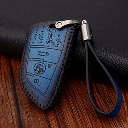 $enCountryForm.capitalKeyWord Australia - Genuine Leather Car Key Cover For BMW E46 E90 E92 F10 F20 F30 X1 X3 X5 Brown Blue Red Handmade