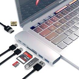 Dual Ports Hub USB C vers HDMI Adaptateur 4K Thunderbolt 3 Hub USB type-C avec logement TF SD PD pour MacBook Pro 2017 Hub USB 3.0