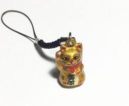 Strap Neko Australia - Wholesale 50pcs Gold Lucky Cat Maneki Neko Japanese Bell 2.3 cm. Gold Rich Black Strap