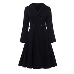 Wholesale big breasted lady resale online – Yefa women vintage black trench coat double breasted three quarter sleeves outwear elegant lady big swing high waist long trench