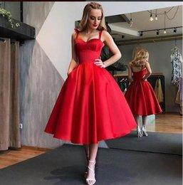 Discount feathered white cocktail dress - 2019 Elegant Red Cocktail Dresses Tea Length A Line Spaghetti Straps Satin Formal Occasion Party Dresses
