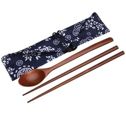 chopstick spoon wedding favors UK - 2pcs set Wood Chopsticks And Spoon With Pattern Bag Packaging Creative Personalized Wedding Favors Gifts Party Return Gift 300sets