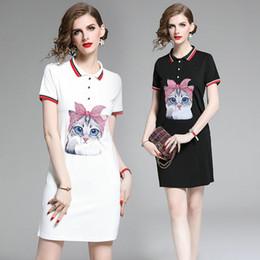 $enCountryForm.capitalKeyWord Australia - Lapel Short Sleeve T-shirt Dress for Women Hot Sale Cute Cat Printed Dress Summer Polos Collar Dresses Fashion Casual Young Girl Dress