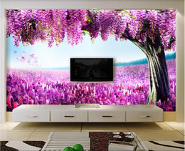 stylish room wallpaper UK - 3d room wallpaper custom photo mural Modern stylish romantic lavender wisteria flower TV background wall wallpaper for walls 3 d