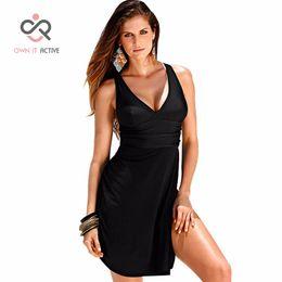 Discount swimsuits women 6xl - 6XL Plus Size Swimwear One Piece Swimsuit Women Summer Beach Wear Vintage Retro High Waist Bathing Suit Dress Black Y007