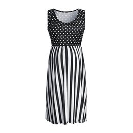vetement women UK - Women Maternity Dresses Summer Striped Dot Print Elegant Sexy Casual Party Nursing Dress Pregnant Clothes Vetement Femme 19may3