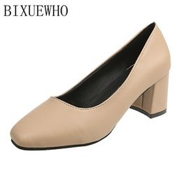 $enCountryForm.capitalKeyWord NZ - Designer Dress Shoes 2019 New Sweet Lady Pumps Women Square Toes Square High Heels Metal Decoration Solid Flock Woman High Quality Casual