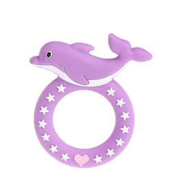 chew toy baby Australia - 2019 FDA Approved Wholesale Safety Food Grade Silicone Dolphin Baby Teething Chew Toy Teether Baby Pendants
