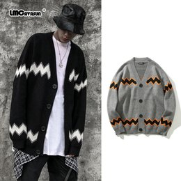 knitted hole cardigan Canada - LMC  Hip Hop Hole Ripped Cardigan Sweaters Women 2020 Harajuku Stripe Knitted Cardigan for Woman Loose All-match V-Neck