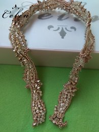 Beaded Belts For Wedding Dresses Australia - Gold Wedding Rhinestone Applique Trim Crystal Beaded Accessories for Wedding Dress Bridal Belt Headpiece Bags
