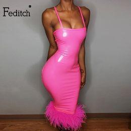 White Linen Club Dresses Australia - Feditch 2019 Party Dress Women Spaghetti Strap Pu Faux Leather Club Dress Sexy Slim Midi Dress Pink Feather Vestido De Festa T3190610