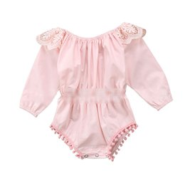 Wholesale pompom clothing resale online - Baby girls long sleeve Pompom tassel romper Pink Ruffles Jumpsuits Boutique kids Climbing clothes one piece C6065