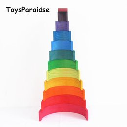 magnetic blocks educational Australia - Baby Toys 12pcs Rainbow Blocks Wooden Toys For Kids Large 84*35*18cm Creative Rainbow Building Blocks Montessori Educational Toy Y190606