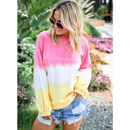 $enCountryForm.capitalKeyWord NZ - Women Rainbow Hoodie Fashion 2019 New Arrival Autumn Luxury Hoodies Casual Gradient Color Womens Plus Size Tops Clothes Size S-5XL 444