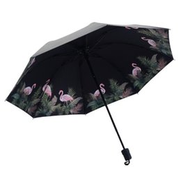 bumbershoot umbrella UK - Flamingo All Weather Umbrella Ultraviolet Proof Sunshade Tri Folded Bumbershoot Thick Rod Summer Sombrilla Portable for women nt