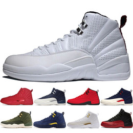 China 12 12s Gym red Bulls mens Basketball shoes Michigan International Flight College Navy Flu Game Taxi Wolf Grey men sports sneakers designer cheap bull genuine leather suppliers