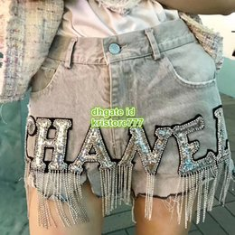 Vintage trousers girl online shopping - High End Women Vintage Denim Shorts With Letter Sequin Mini Shorts Pants Girls Casual Cowboy Runway Female Jeans Shorts Milan Trouser
