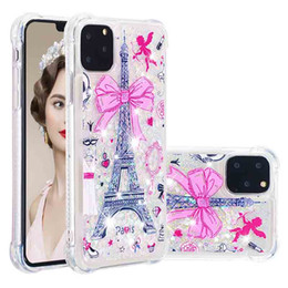 cute iphone bumper cases UK - 3D Cute Painted Bling Liquid Quicksand Case for iphone 11 Pro Max 6.5inch Shockproof Protective Bumper Silicone Cover for Apple XS Max XR