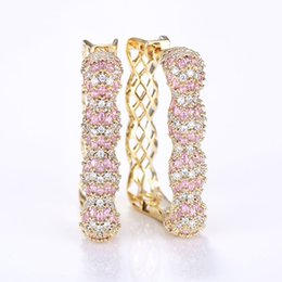 Discount square hoop earrings for women - VERY GIRL 44mm Luxury Pink Cubic Zircon Statement Big Geometric Square Hoop Earrings For Women Wedding Bridal Hoop Earri