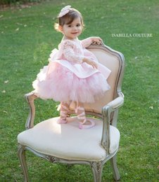 Long Pink Tutu Australia - 2019 Pink Custom Made Vintage Lovely Baby Infant Toddler Baptism Clothes Flower Girl Dresses With Long Sleeves Lace Tutu Ball Gowns Cheap