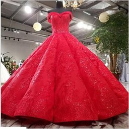 high quality lace evening gowns Australia - Red Sweetheart Ball Gown Prom Dresses Court Train Lace up Back Appliques Beaded High Quality Formal Evening Dresses Gowns Robes De Ball