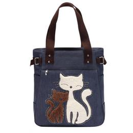 Lady Zipper Handbags Australia - Lovely Cute Cat Canvas Handbag for Girls Ladies Large Capacity Casual Bag Women Portable Solid Zipper Shoulder Bag Bolsos Mujer Y190606
