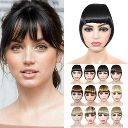 synthetic hair bang hairpiece NZ - Lady Black Fake Fringe Clip In Bangs Hair Extensions With High Temperature Synthetic Fiber Hairpieces